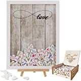 Y&K Homish Wedding Guest Book Wooden Picture Frame, Drop Top Frame Sign Book with 100PCS Wooden Hearts, Rustic Wedding…