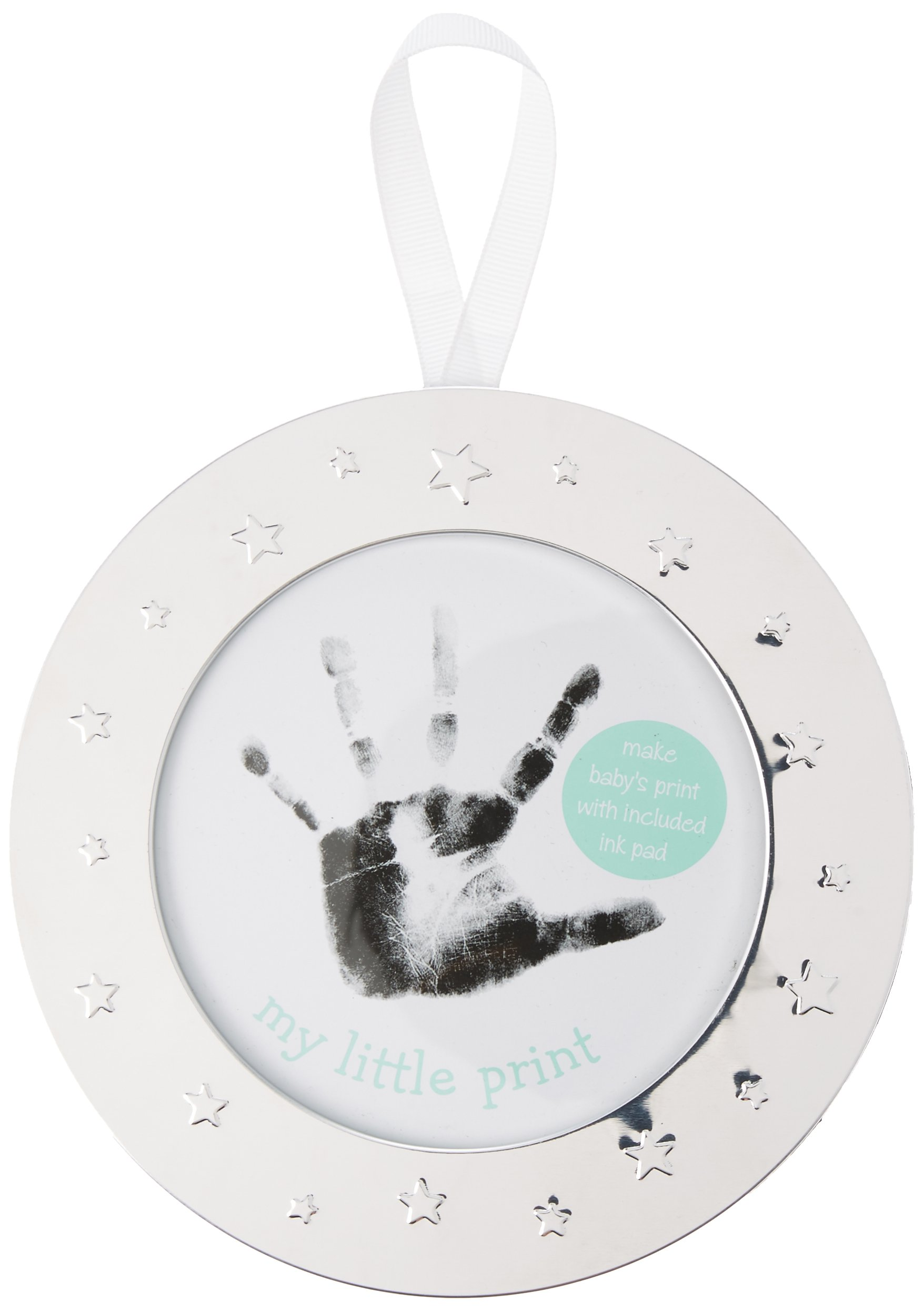 Lil Peach Babyprints Handprint or Footprint Keepsake Ornament Kit With Included Ink Pad and Ivory Ribbon, Round, Silver