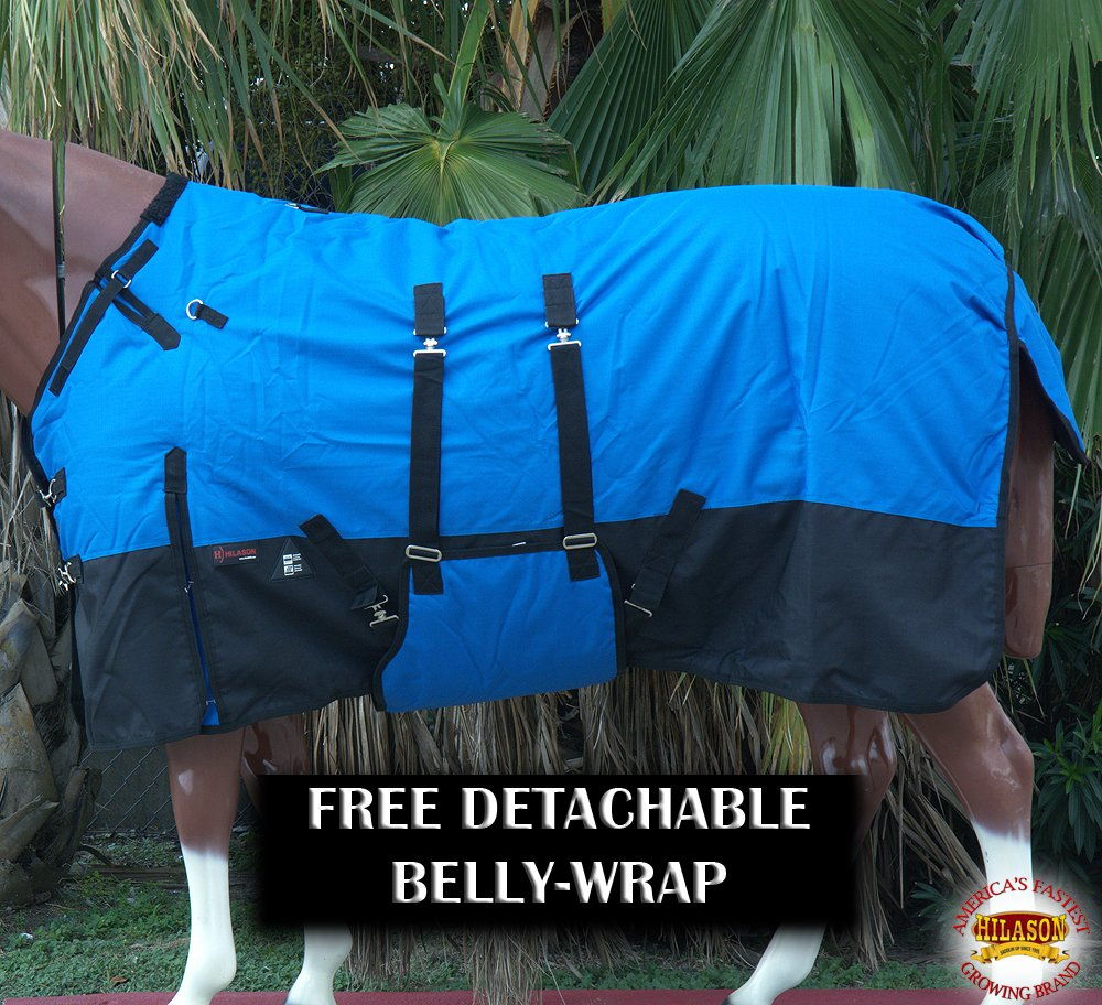 HILASON 1200D Horse Winter Blanket Water Proof (Many Colors and Prints) - All Blankets Have Detachable Belly wrap. RSHB171412BEL-70