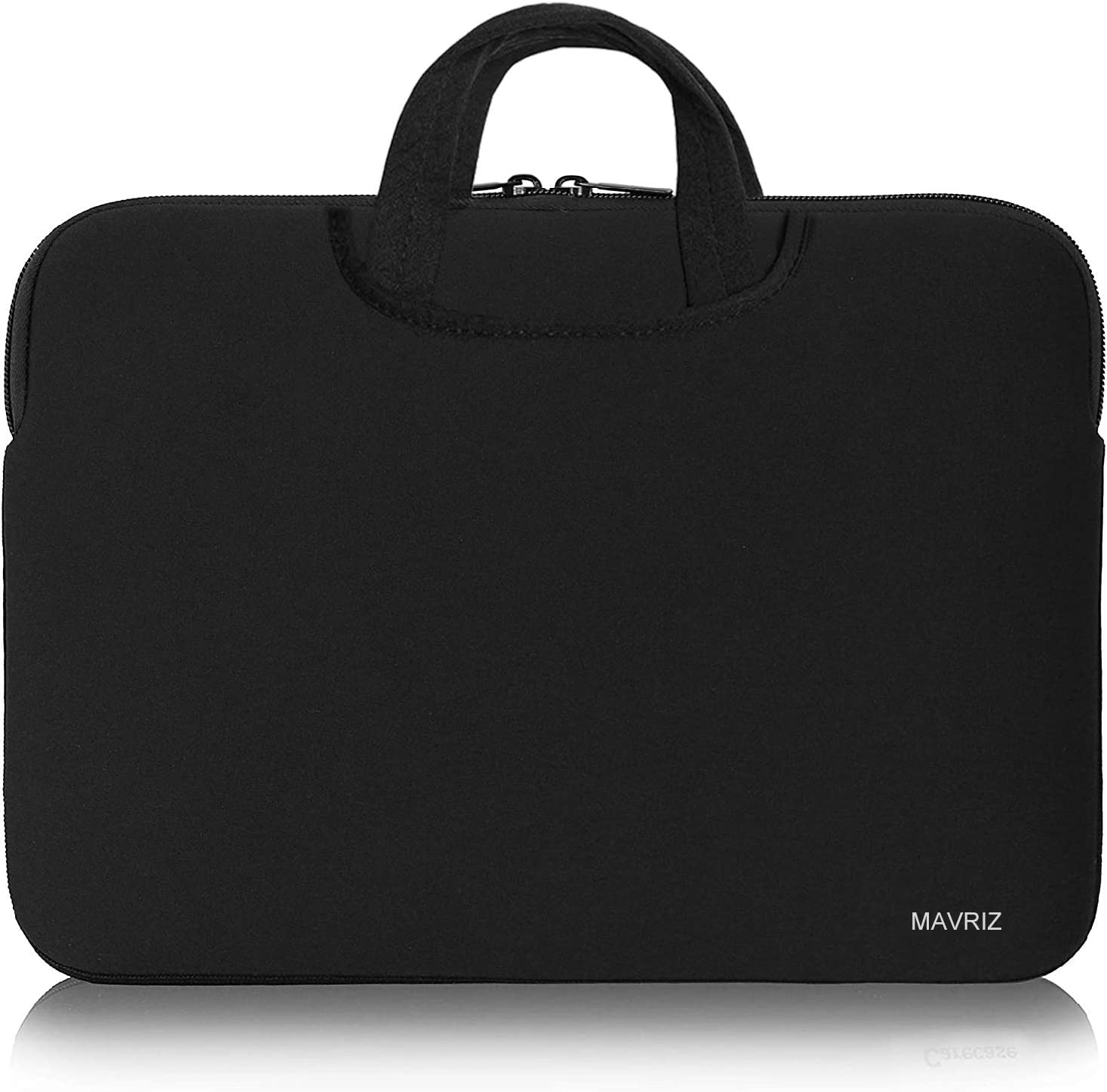 Laptop Sleeve Bag 15.6 Inch, Slim Briefcase Handle Bag with Two Extra Pockets,Notebook Computer Protective Case Cover for MacBook Pro, MacBook Air, Hidden Design Carrying Handles (Black)