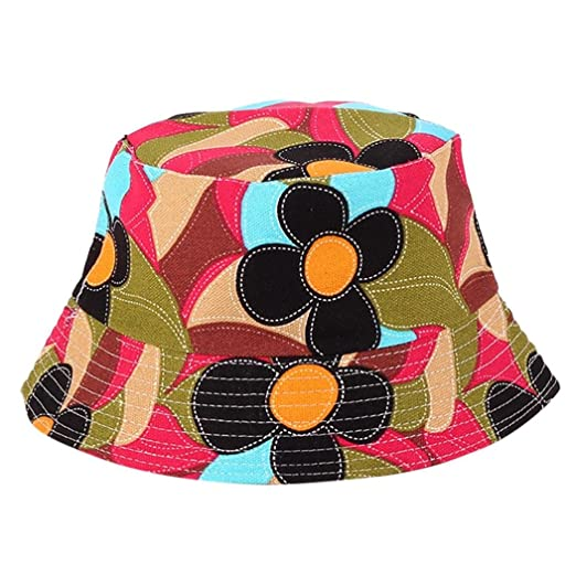 Floral Print Bucket Hat Hawaii Hat Cap Womens Trends Fashion Bucket Hat (A) 904eb13c7466
