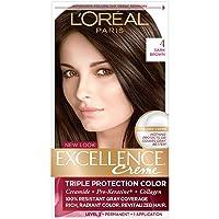 L'Oreal Paris Excellence Creme Permanent Hair Color, 4 Dark Brown, 100% Gray Coverage...