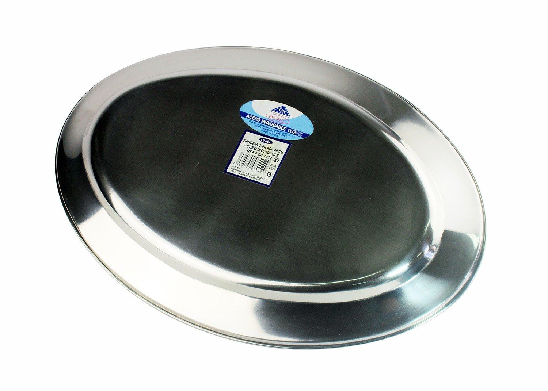 Em Home (3227110) Bandeja para Servir Comida de Acero Inoxidable Ovalada 29,5x20cm Gris: Amazon.es: Hogar