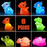 Aildysee Dinosaur Bath Toys (Battery Replaceable),6 Packs Light Up Floating Rubber Toys for Baby Children Toddlers,Pool Water