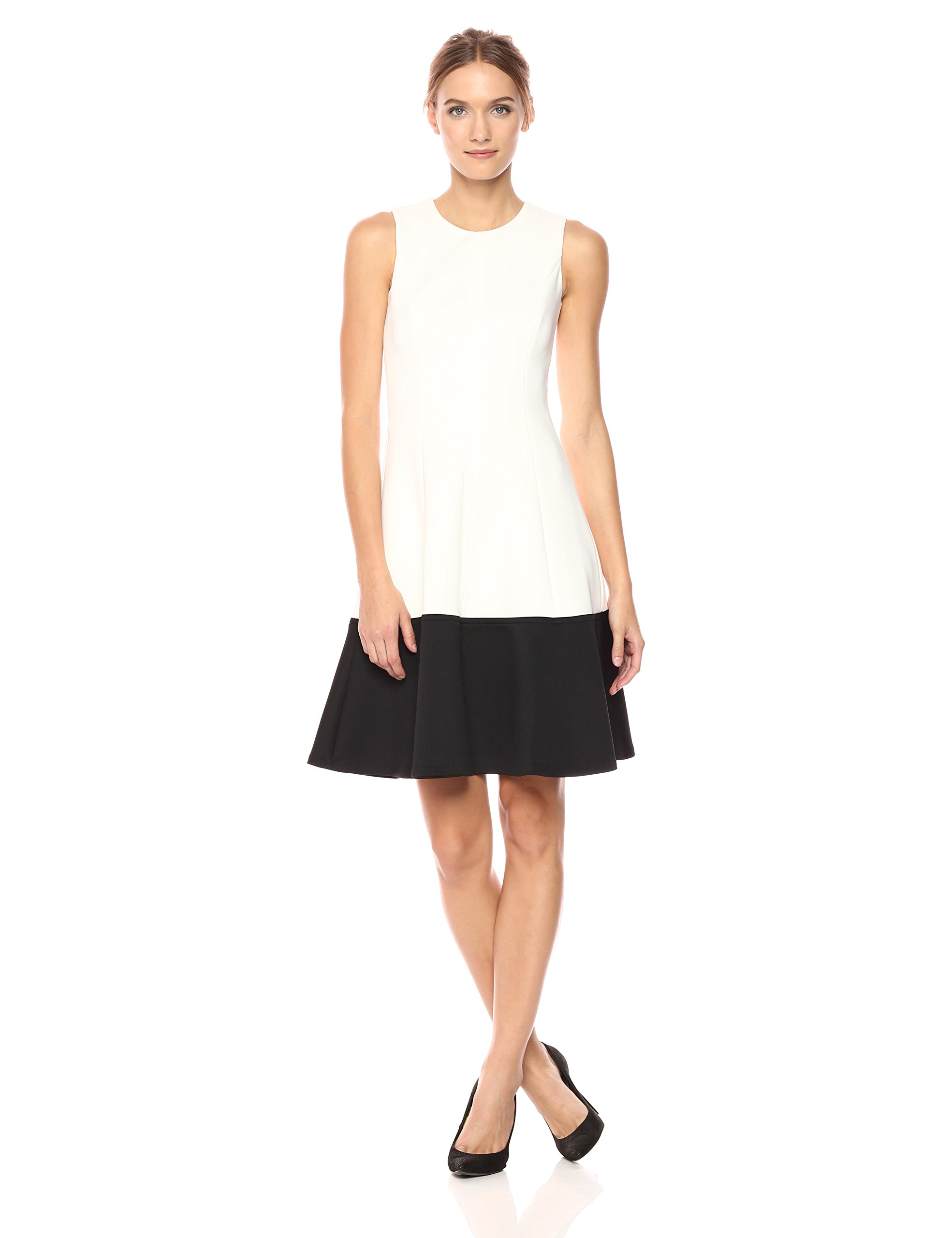 Calvin Klein Women's Color Block Fit and Flare Dress, Black/Cream, 4 by Calvin Klein (Image #1)