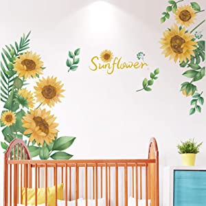 DRON TOOON DIY Sunflower Flower Wall Decal Removable Beautiful Girl Art Murals Home Decor for Kids Living Room Office Peel and Stick Self Adhesive Sunflower Wall Stickers Home Decoration