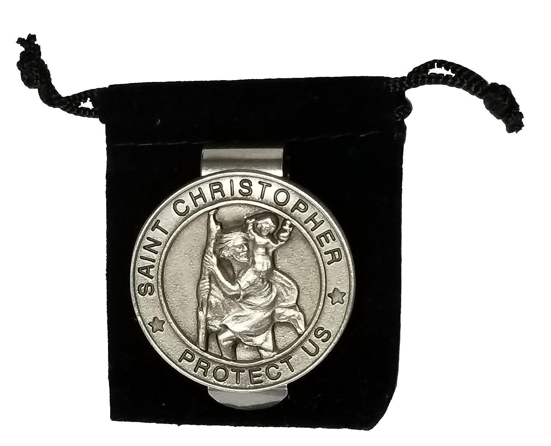 Gods411 Round Saint St Christopher Auto Visor Clip 1 1/2 Inch Diameter Silver Pewter in Black Velvet Bag