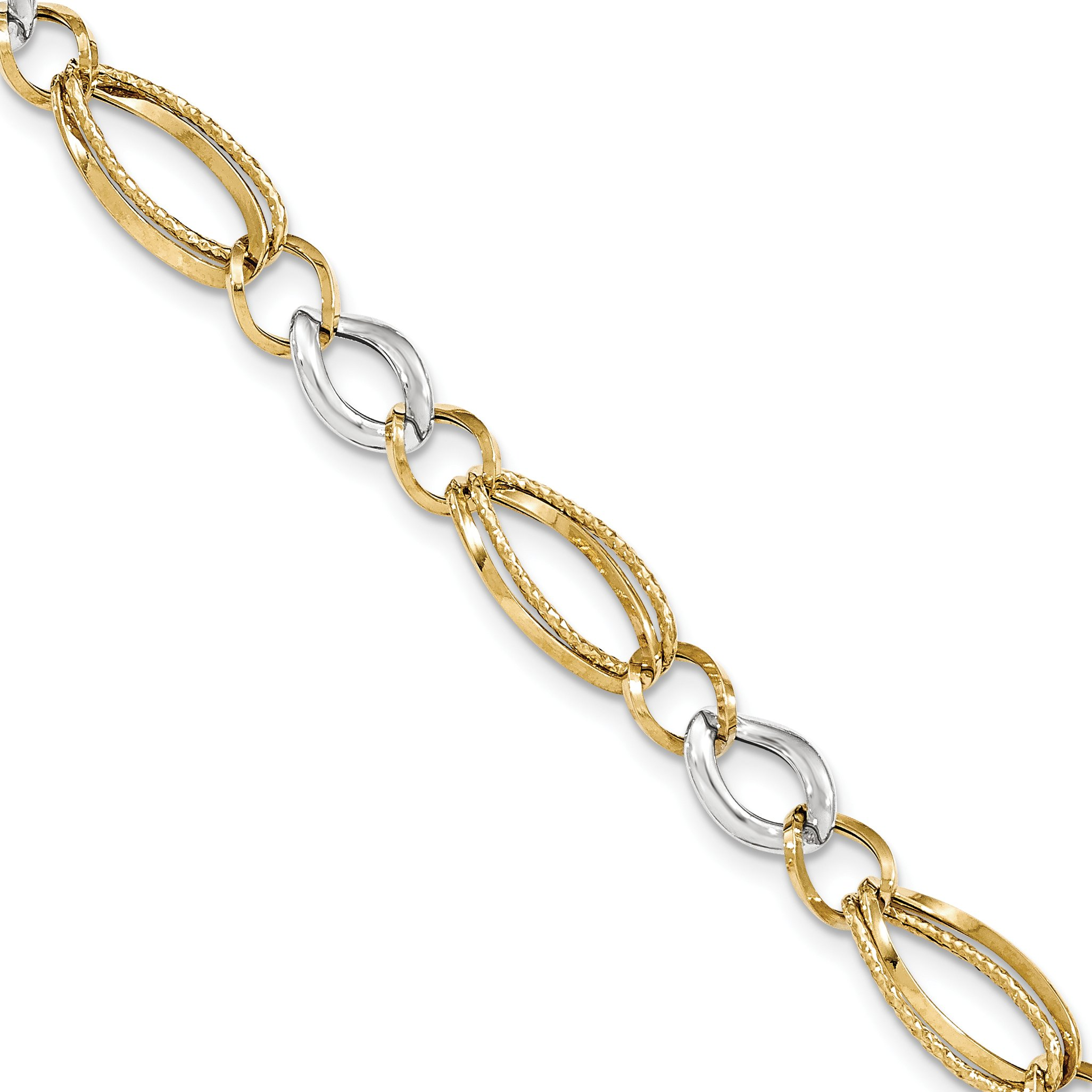 ICE CARATS 14k Two Tone Yellow Gold Textured Link Bracelet 8 Inch Fine Jewelry Gift Set For Women Heart