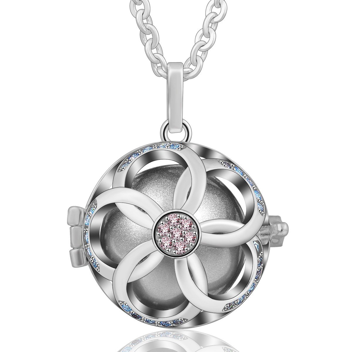 EUDORA Harmony Bola Necklace Apple Flower Music Chime Pendant Pregnancy Wishing Ball, 30'' Chain Gray