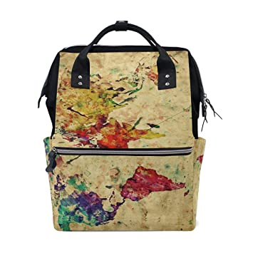Amazon Com Watercolor Retro World Map Diaper Bags Nappy Backpacks