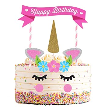 VEYLIN Unicorn Cake Birthday Topper Pink Kit For Kids Girls Boys Baby