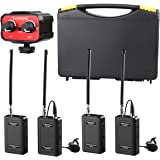 Saramonic Wireless VHF Lavalier Microphone Bundle with 2 Bodypack Transmitters, 2 Receivers, and 2-Ch Mixer for DSLR Cameras, Camcorders + More - 200' Wireless Transmission Range (Black/Red)