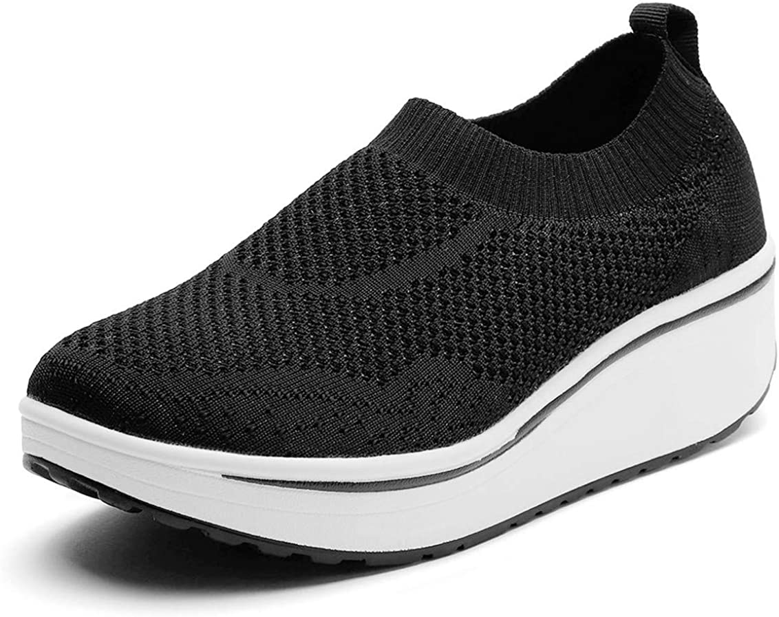 DADAWEN Women's Slip On Breathable Walking Shoes Comfort Fitness Wedge Platform Sneakers (Size:US5-US12)