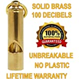 Loudest Solid Brass Whistle | Best Premium Emergency Whistle | Very Loud EDC Tools | One Piece | Outdoor Survival whistle | No Plastic | Fits in pocket or on key-chain Carry it Anywhere!