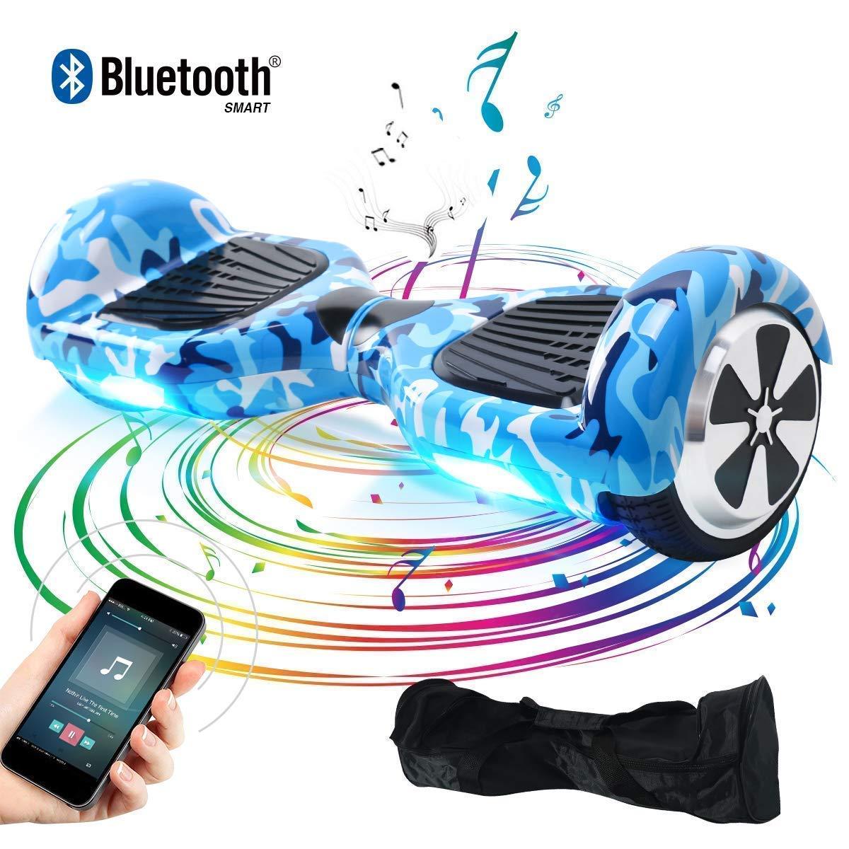 BEBK Hoverboard, 6.5 Self Balance Scooter mit Bluetooth Lautsprecher, 2 * 350W Motor, LED Lights, Elektro Scooter U1-C