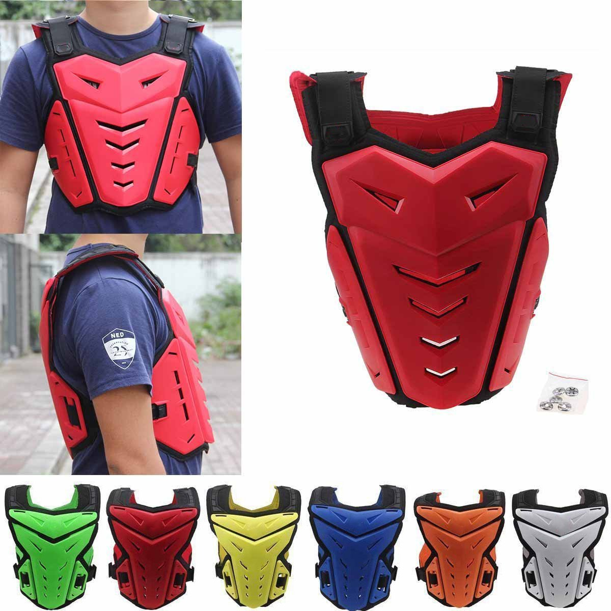 Chest Back Vest Armor Protector for Motocross Riding Skating Skiing Scooter
