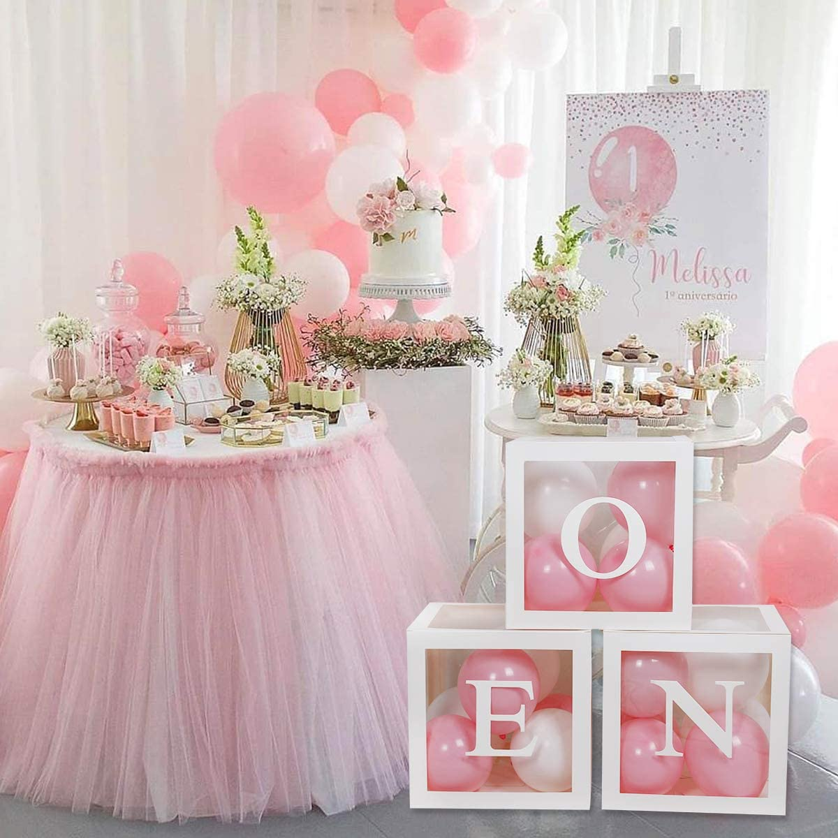 First Birthday Balloon Boxes for Party Decorations,1st Birthday Balloon Blocks Decorations with ONE Letter for Boy Girl Baby Shower,Photo Shoot Prop,Table Centerpiece