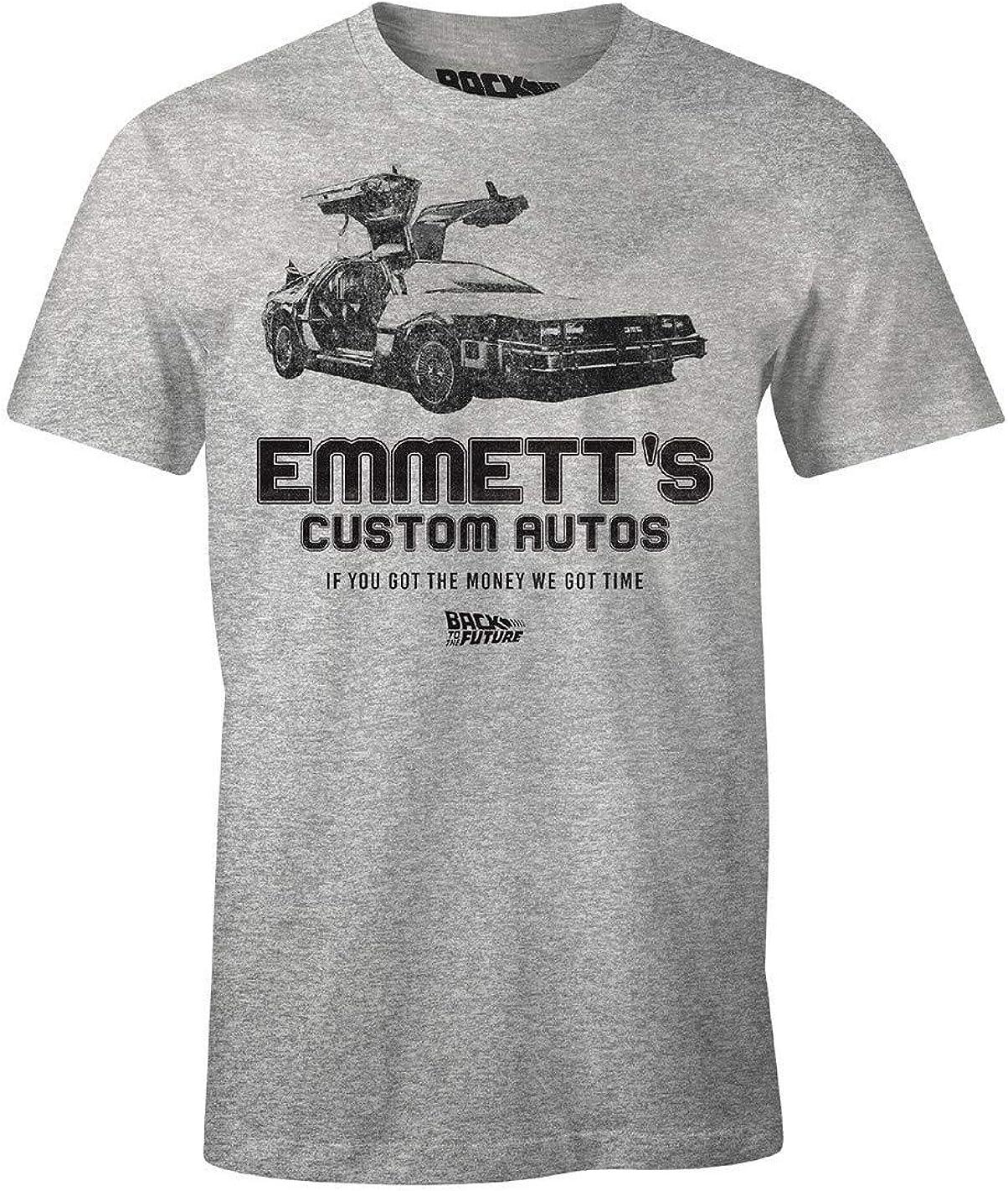 Cotton Division Ritorno al Futuro Maglietta da Uomo Emmetts Custom Cars Delorean Grey