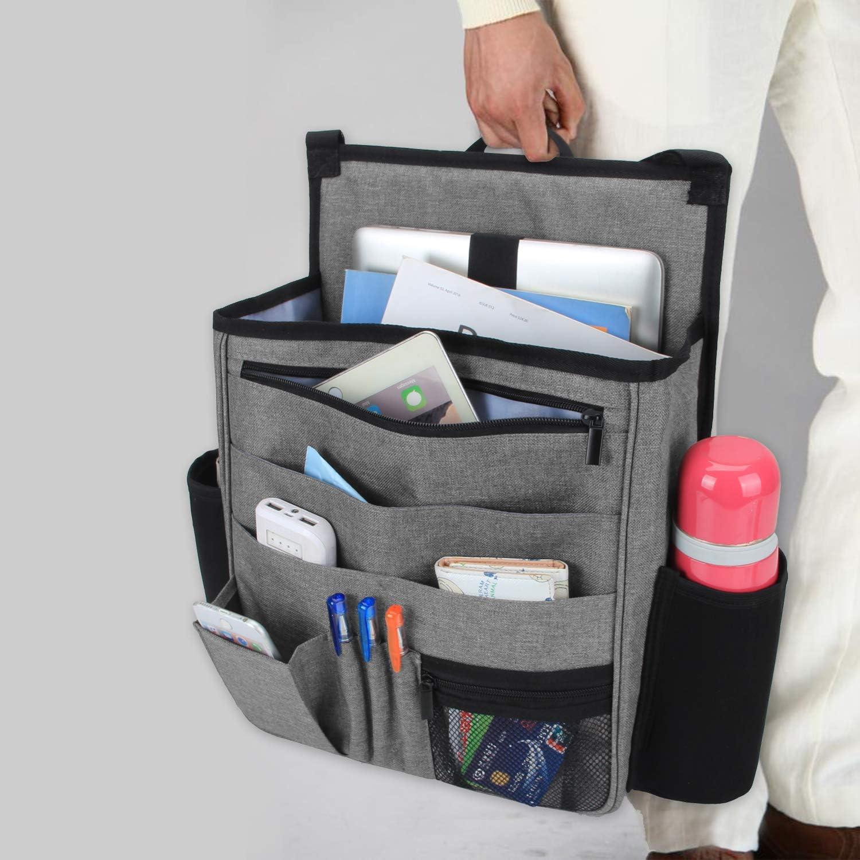 Gray Car Seat Organizer with Back Adjustable Straps LUXJA Car Front Seat Organizer with Laptop and Tablet Storage Pockets