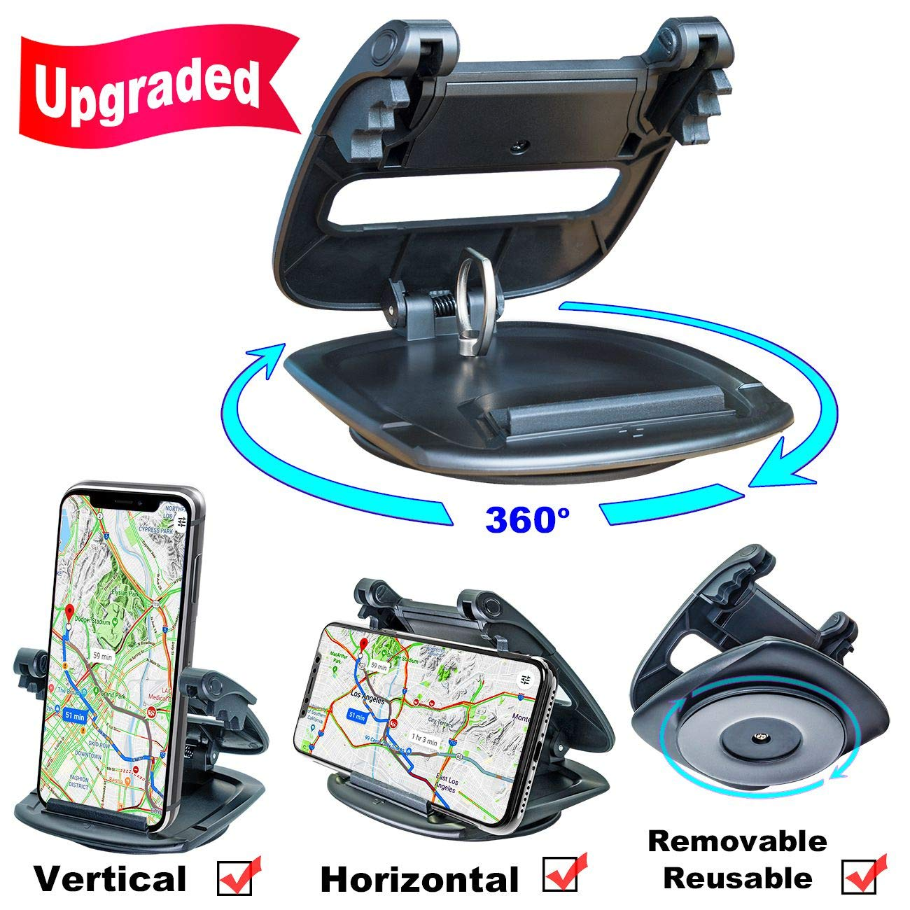 Cell Phone Holder for Car Dashboard, (2nd Gen Plus) Car Phone Mount Silicone Dash Pad, GPS Holder Car Phone Mounting in Pickup Truck Compatible iPhone Xs Max XR Plus Samsung Galaxy Note 9 S9 Car Kits by aneaseit