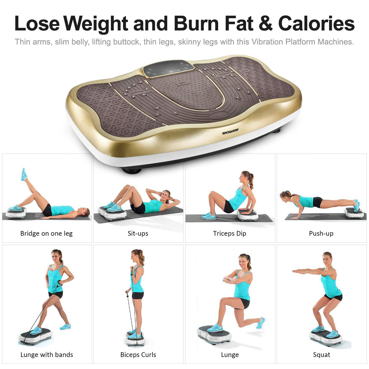 TECHMOO Fitness Vibration Power Plate Platform Whole Body Workout Exercise Machine Home Exercise Equipment W//Remote Control /& Bands for Home Fitness Losing Weight Max User Weight 265lbs