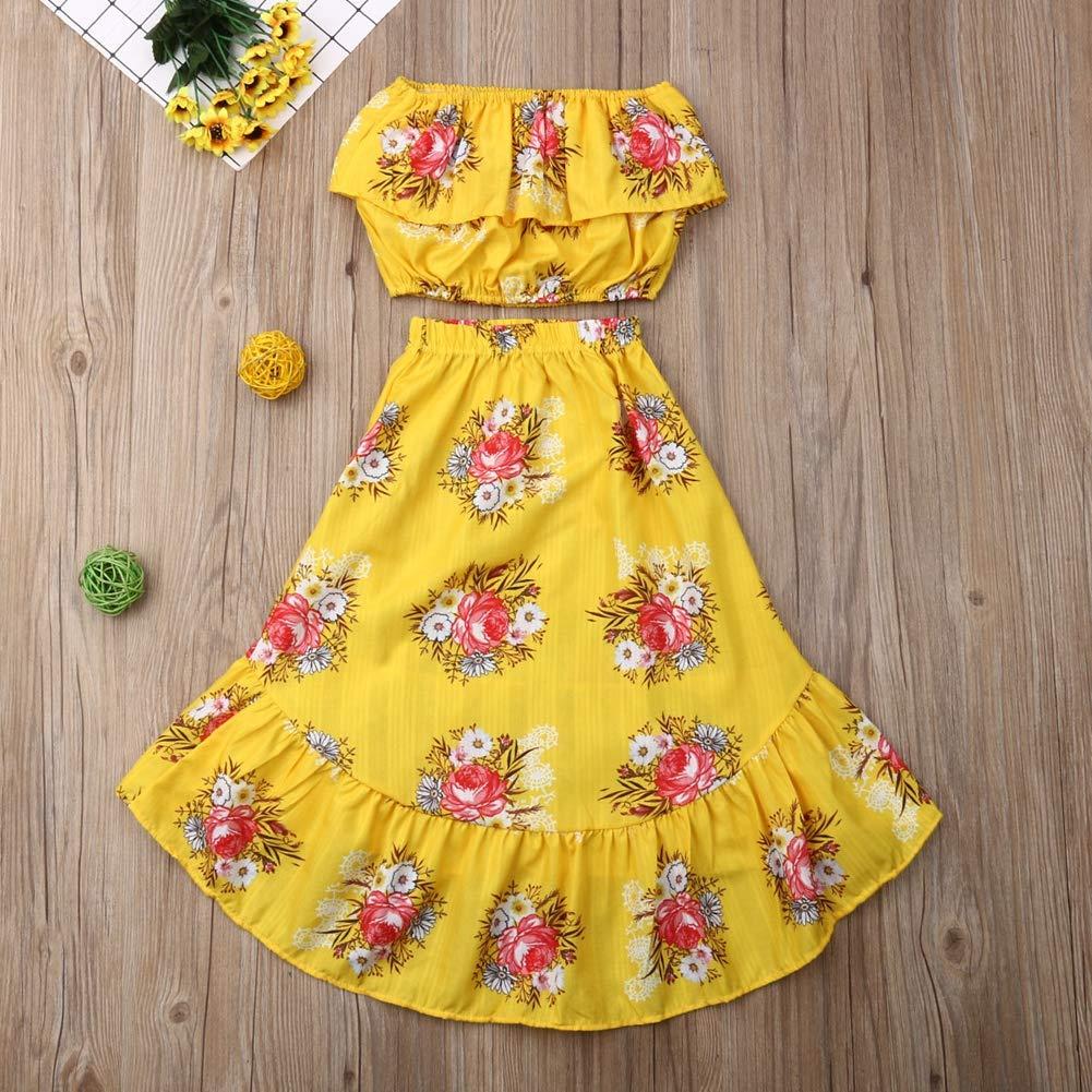 Floral Plissee unregelm/ä/ßigen Rock Sommer Kleidung Outfits Set Baby R/üschen Tube Top
