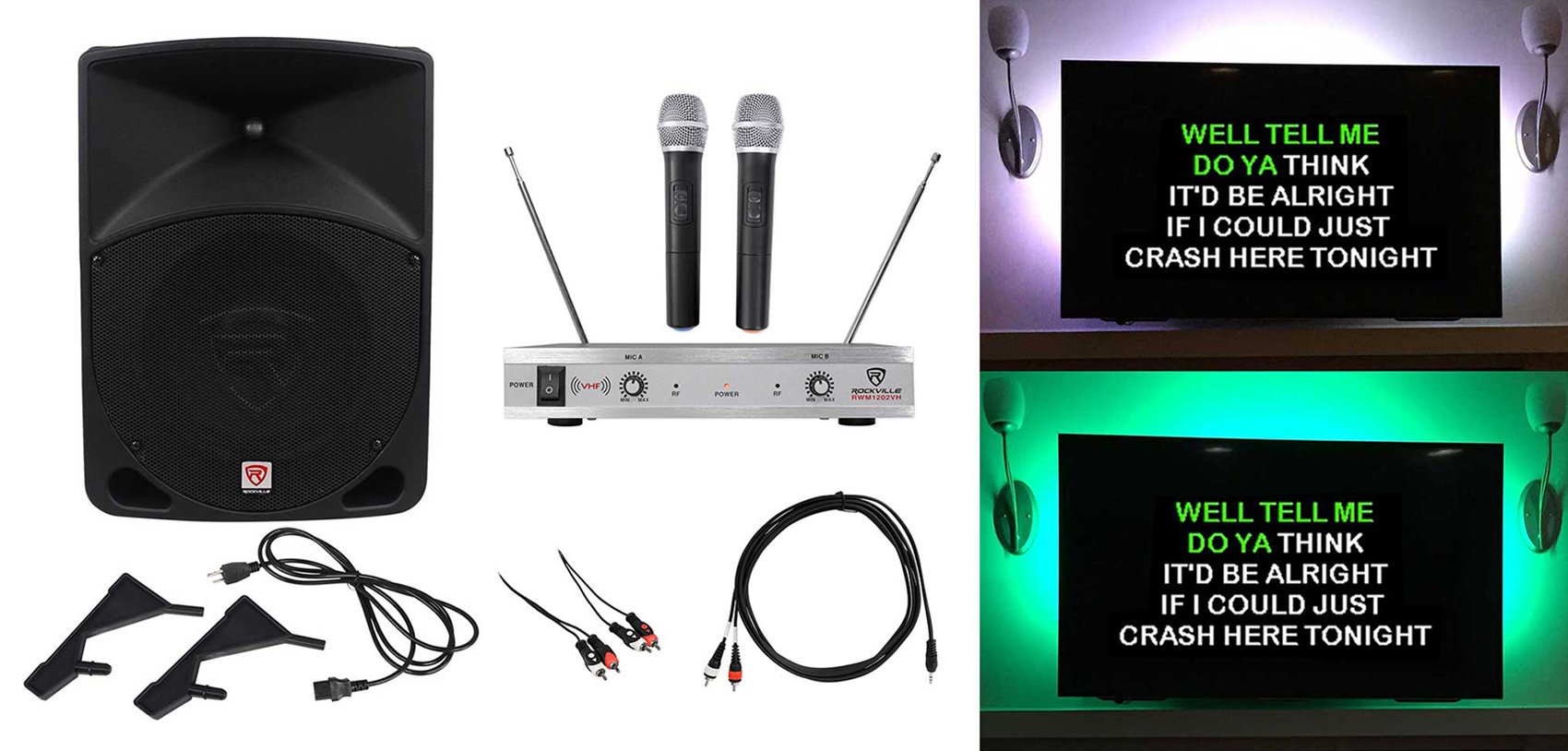 Rockville 10'' Pro Karaoke Machine/System w/LED's 4 ipad/iphone/Android/Laptop/TV