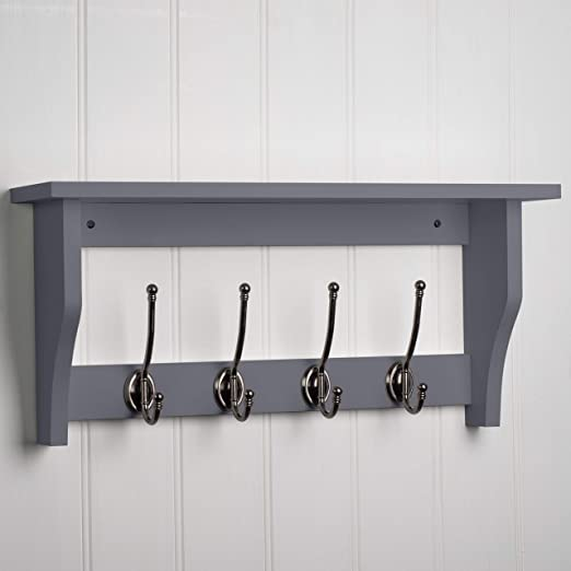 2117af772 Coat Hook Rail with Shelf and 4 Hooks in Dove Grey ...  Amazon.co.uk ...