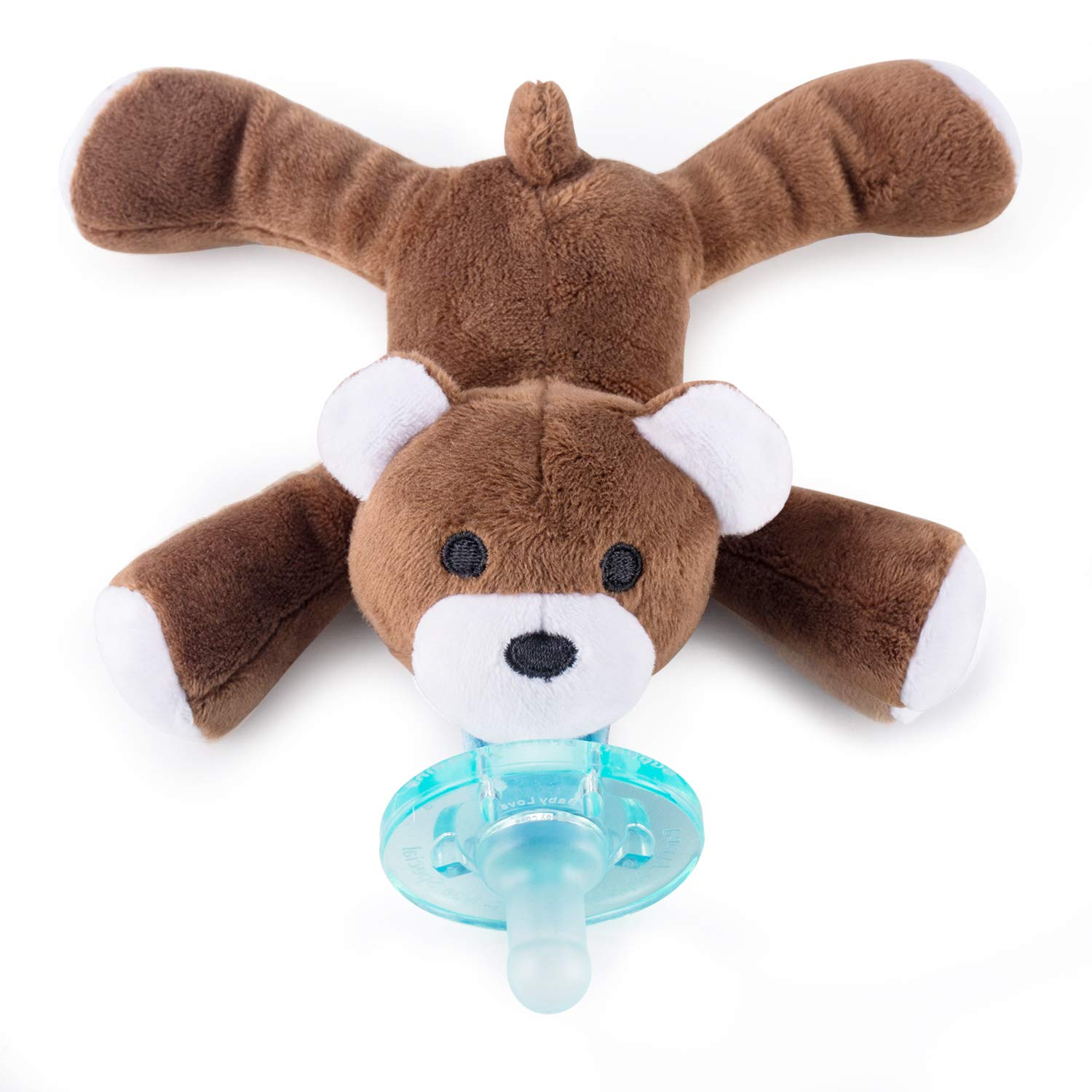 Baby Pacifier Holder Detachable Binky Plush Stuffed Animal Toy BPA Free for Newborn Boy Girl + Soothie Case + Gift Box (Bear)