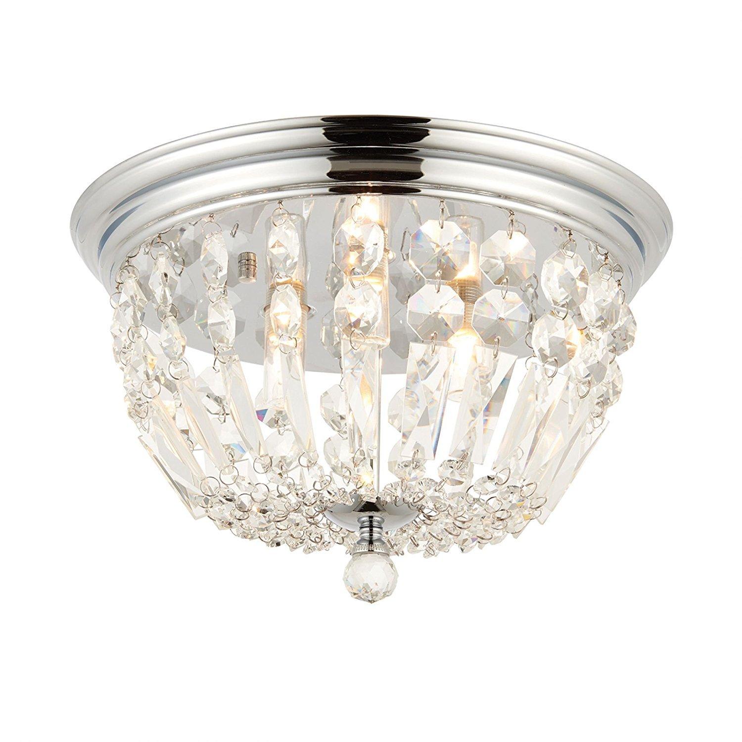 Endon Thorpe 68814 Modern 3 Way Crystal Bathroom Flush Light Fitting for Ceilings - IP44 Rated, For Bathrooms, Kitchens, Hallways and Living room, LED Compatible. Endon Lighting