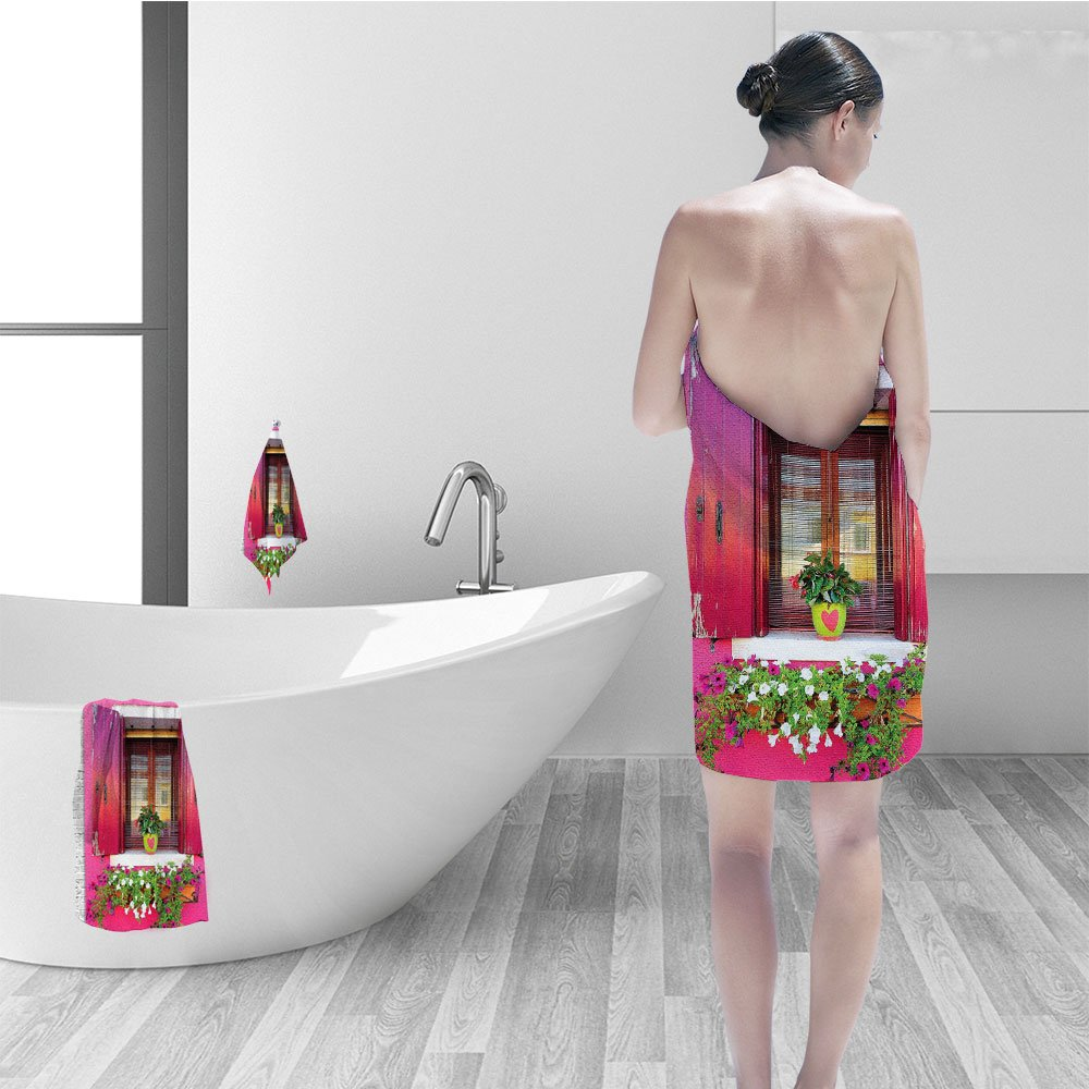 Hand towel set Rustic Wall Decor Dreams Romantic Atmosphere House Wooden Windows Hearts Flowers Bougainvilleas Decorations Digital Printed Photo Hanging Tapestry Living Room Bedroom Fuchsia Pink Green