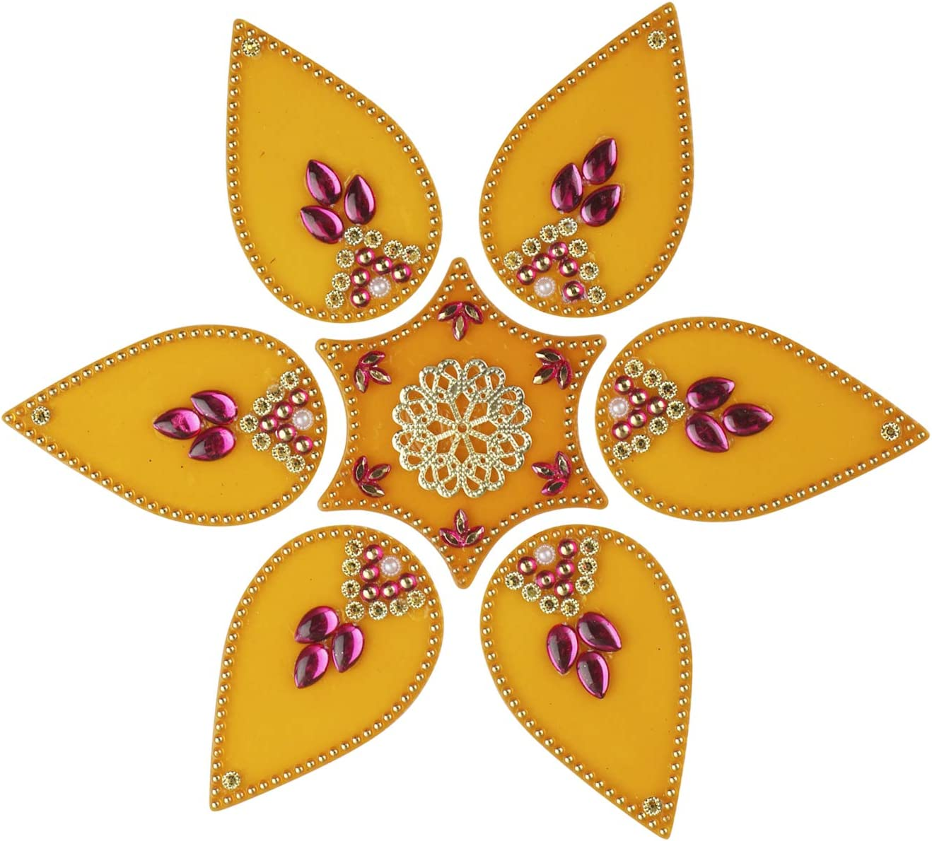 Acarya Flower Rangoli/Home Decor/Diwali/Gift for Home/Interior Handcrafted/Floor Stickers/Wall Stickers/Wall Decoration/Floor Decoration (Yellow) - 7 Pcs