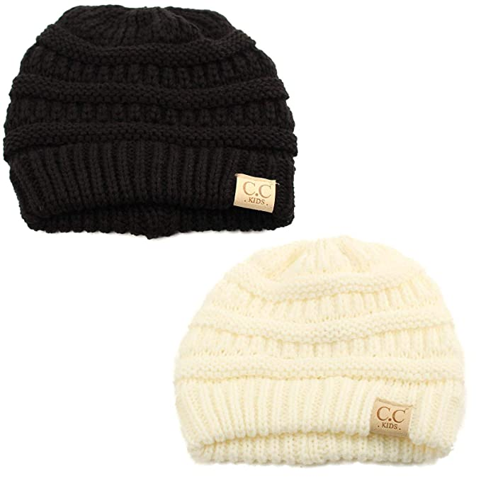 Kids Ages 2-7 Warm Chunky Thick Stretchy Knit Slouch Beanie Skull Hat 2 Pack fa05e25f346