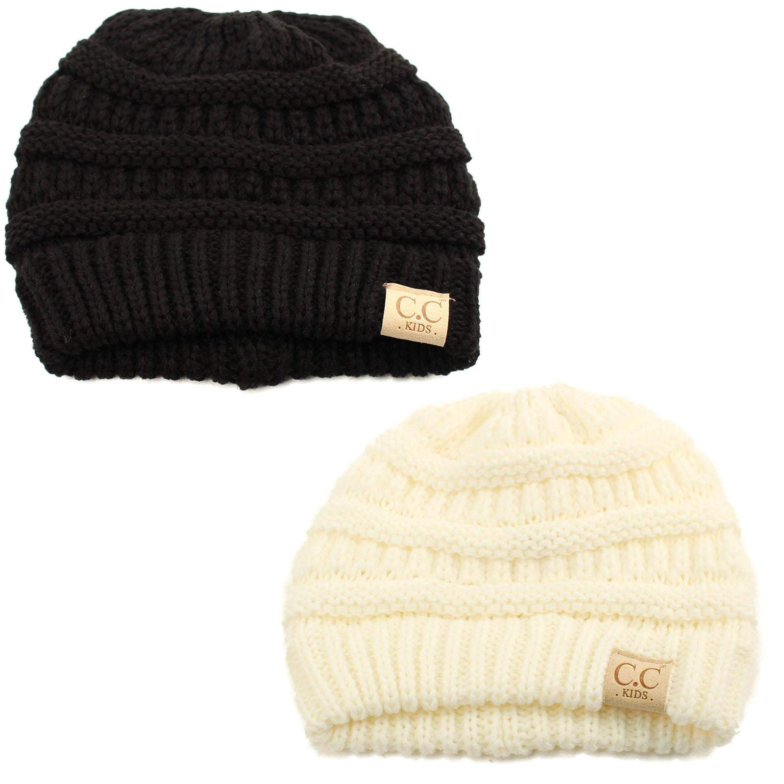 Kids Ages 2-7 Warm Chunky Thick Stretchy Knit Slouch Beanie Skull Hat 2 Pack Combo (Black + Ivory)