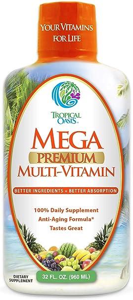 Mega Premium Liquid Multivitamin   Natural Immune Support Vitamin w/ 1333% Vitamin C, 200% D3, Zinc + 20 Vitamins, 70 Minerals, & 21 Amino Acids   Sugar Free   Orange Flavor   98% Absorption   32 Serv