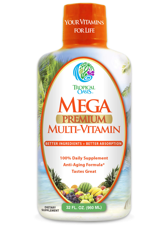 Mega Premium Liquid Multivitamin | Natural Immune Support Vitamin w/ 1333% Vitamin C, 200% D3, Zinc + 20 Vitamins, 70 Minerals, & 21 Amino Acids | Sugar Free | Orange Flavor | 98% Absorption | 32 Serv