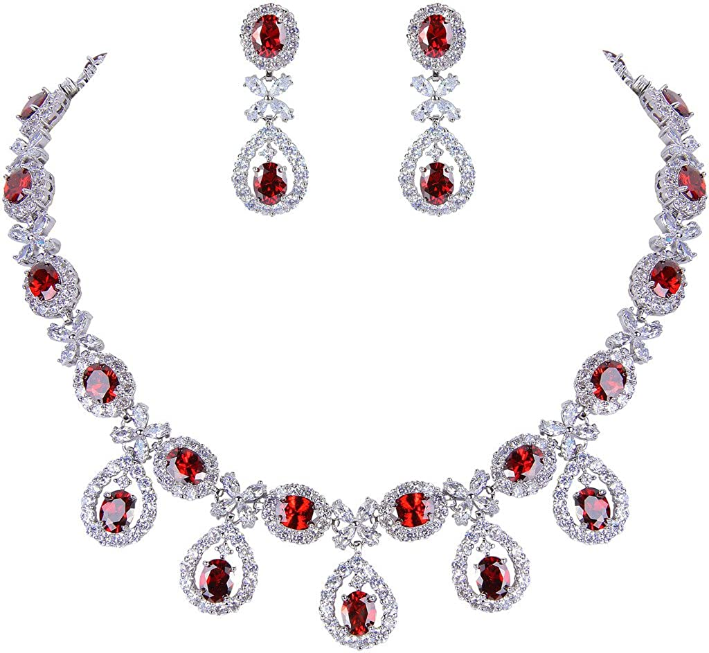 EVER FAITH Silver-Tone Cubic Zirconia Elegant Flower Leaves Water Drop Necklace Earrings Set