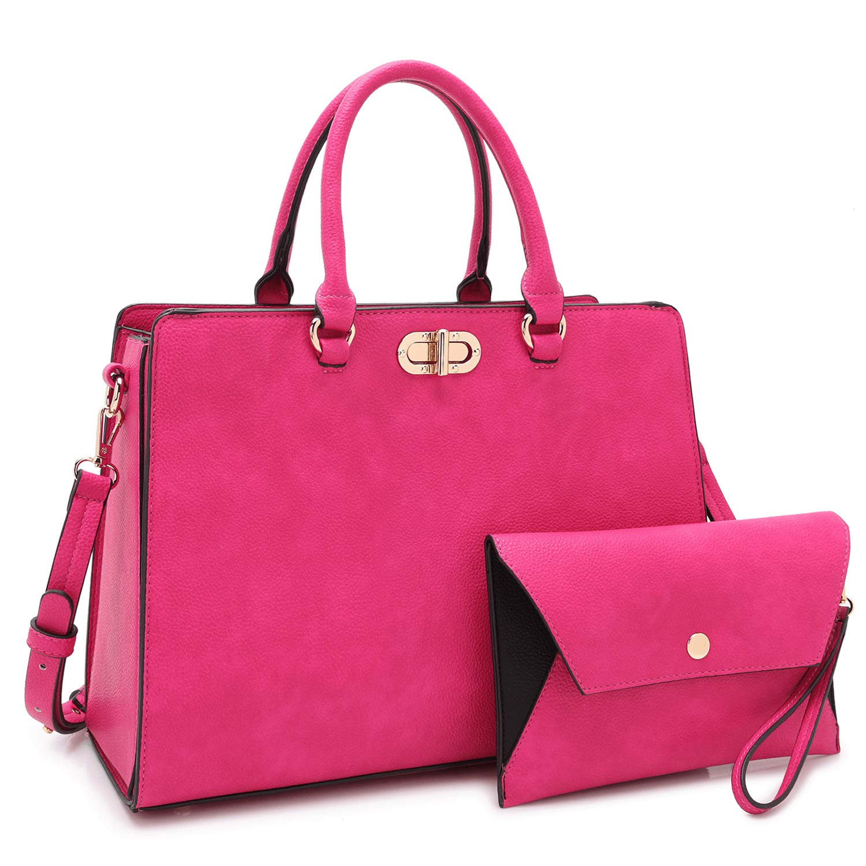 Women's Fashion Handbags Tote Purses Shoulder Bags Top Handle Satchel Purse Set 2pcs 01- Fuchsia