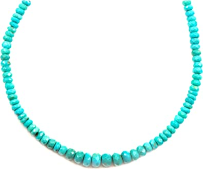 Simple and Unique Sterling Silver Necklace Small Bead Turquoise Necklace Natural Turquoise Jewelry Natural Gemstone Necklace