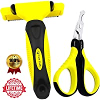 Cute Fluffy 2-IN-1 Professional Pet Grooming Kit - Pet Deshedding Brush Shedding Tool, Reduces Dog Cat Hair Shed Up to 90% & Pet Nail Clippers for Small Animals Tiny Dogs Cats Puppy Kitty Kitten - Free Guide Ebook