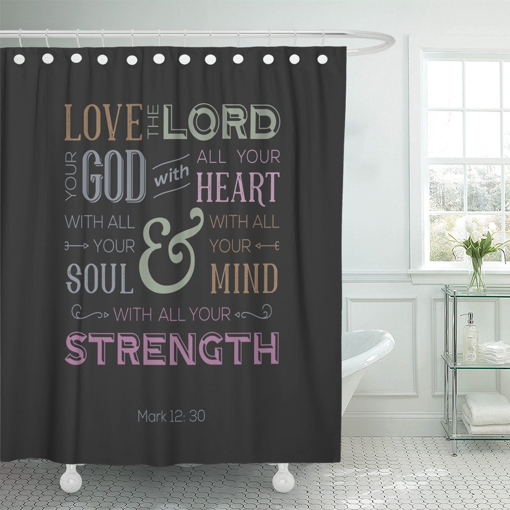 Breezat Shower Curtain Jesus of Bible Quote Use As Love the Lord Your God with All Heart From Mark Catholic Waterproof Polyester Fabric 60 x 72 Inches Set with Hooks by Breezat
