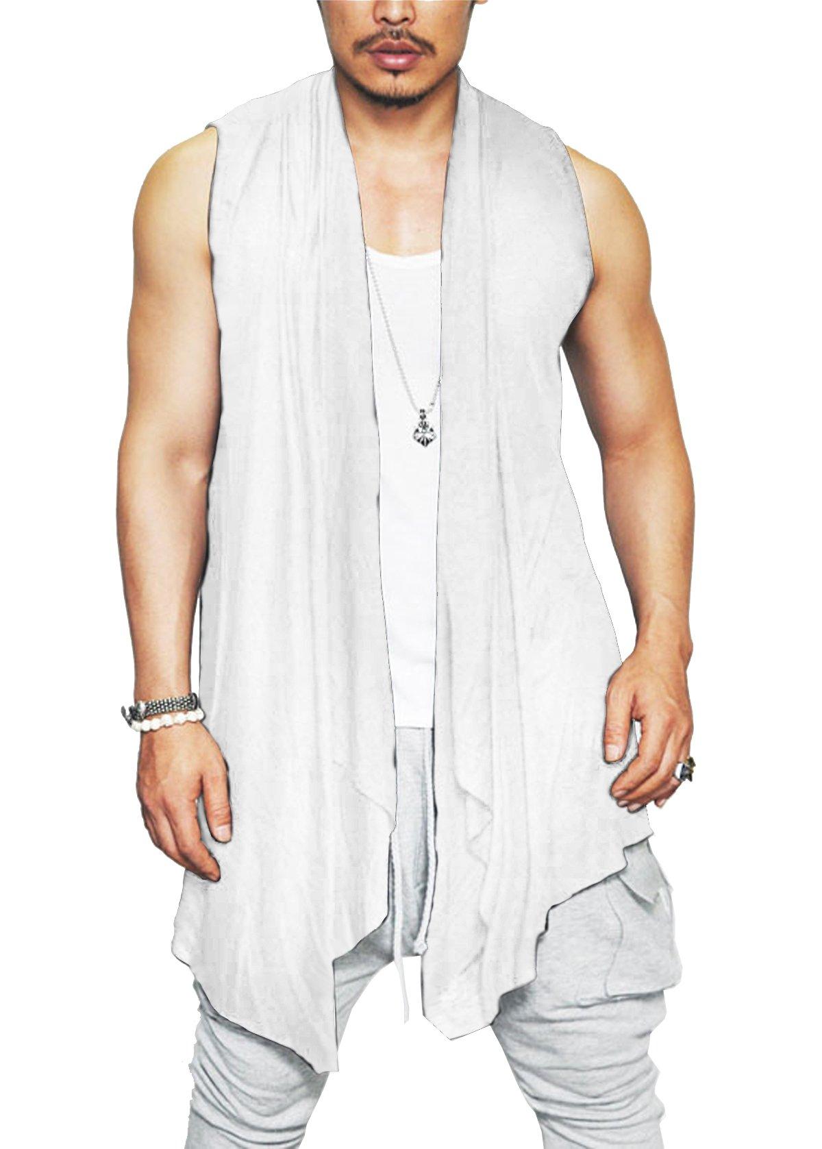 Coofandy Mens Ruffle Shawl Collar Sleeveless Long Cardigan Vest, White, X-Large