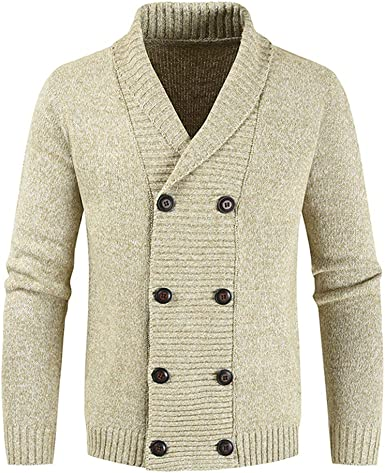 MENS LONG SLEEVE KNITTED WINTER ZIP BUTTON CARDIGAN JUMPERTOP SIZE S M L
