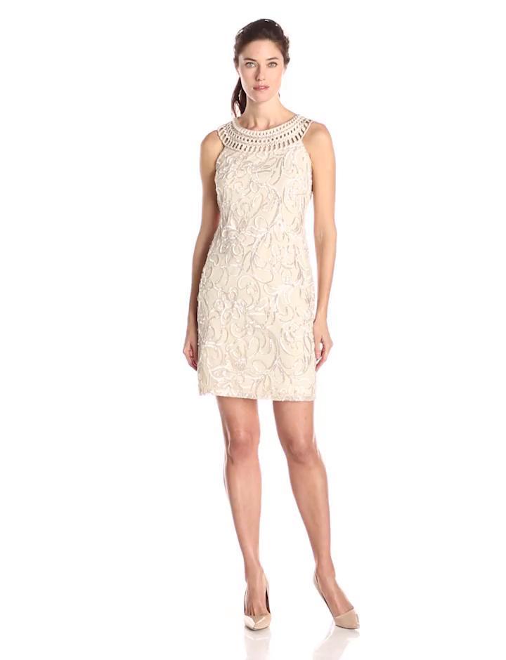 Jessica Howard Women's Sleeveless Embroidered Neck Shift Dress, Champagne, 12