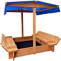Wooden Outdoor Sand Pit Box Set Sandpit Toy Kids Play Games Canopy Children Exercises Large Seat Table with Shade Cover