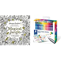 Staedtler triplus fineliner triangular set of 60 brilliant colors + Magical Jungle: An Inky Expedition and Coloring Book for Adults.