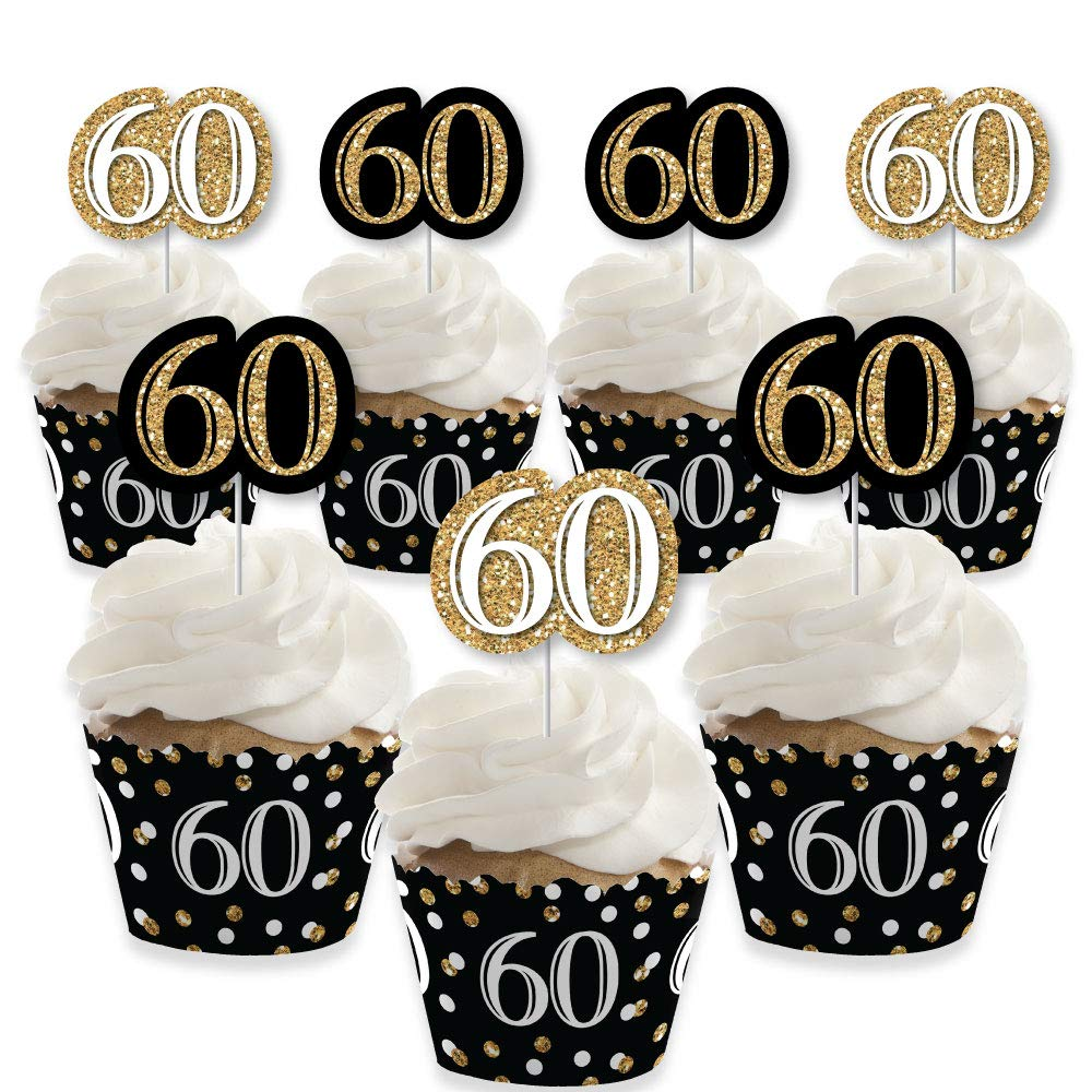 Adult 60th Birthday - Gold - Cupcake Decoration - Birthday Party Cupcake Wrappers and Treat Picks Kit - Set of 24 by Big Dot of Happiness