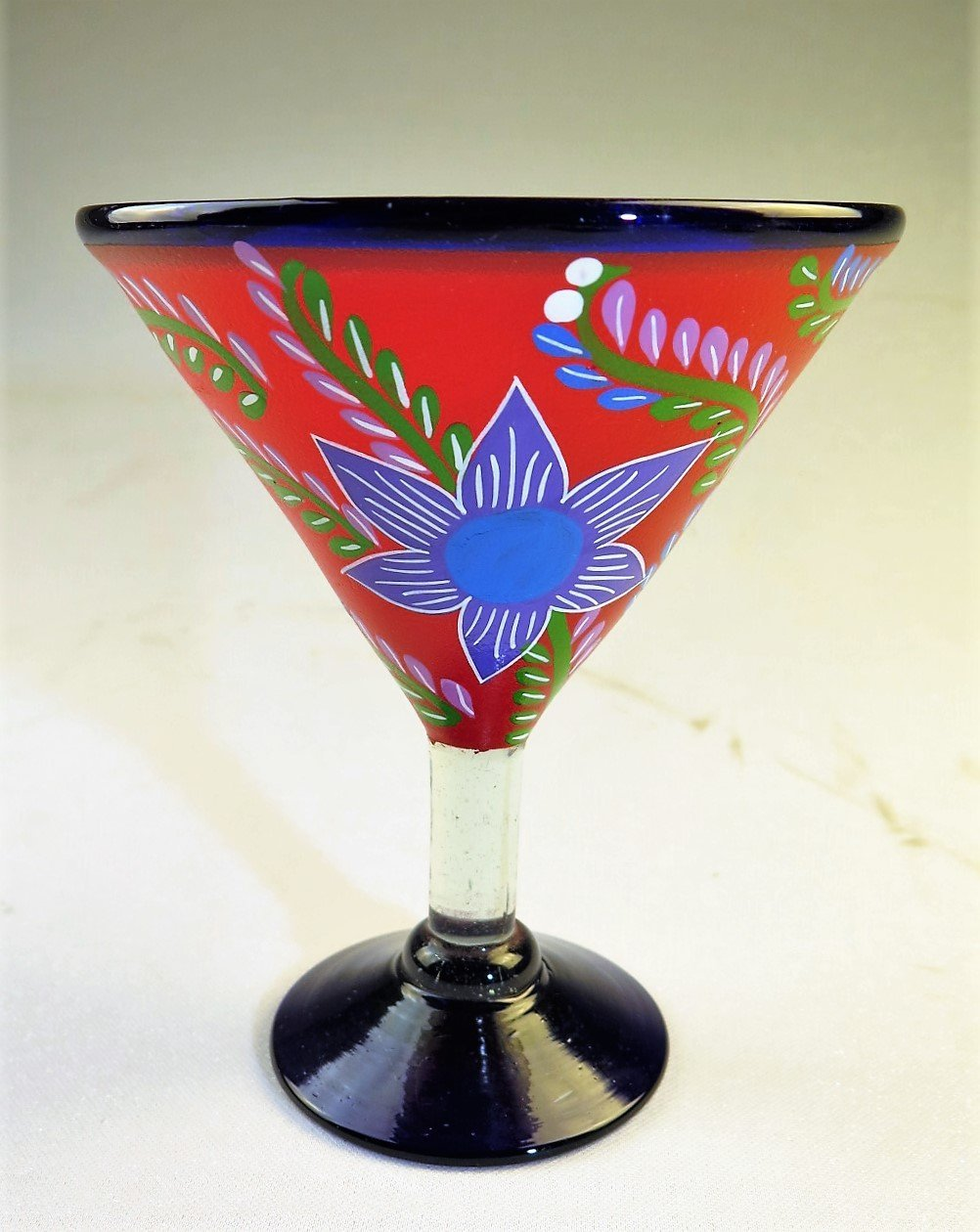 Mexican Glass Margarita Martini Hand Painted Flowers, Mixed, 14 Oz, Set of 4 by Mexican Margarita Glasses (Image #8)