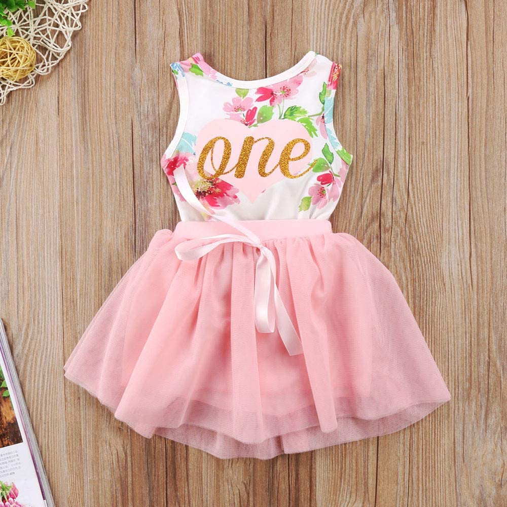 T TALENTBABY Newborn Baby Girl 1st Birthday Outfit Toddler Kids Letter One Printed Floral Romper Bowknot Tutu Party Skirt Princess Dress 2Pcs Set