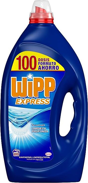 TALLA 100 lavados. Wipp Express Detergente Líquido Azul, Formato Ahorro 100 Lavados - Total: 5 Litros